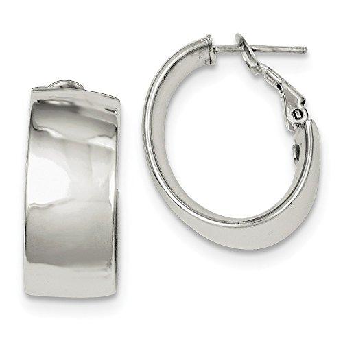 Sterling Silver Polished Omega Back Hoop Earrings ()