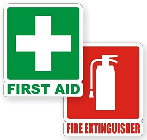 2-PCs Worthy Popular First Aid Fire Extinguisher Car Stickers Sign Boat Decals Windows Safety Size 4-3/4