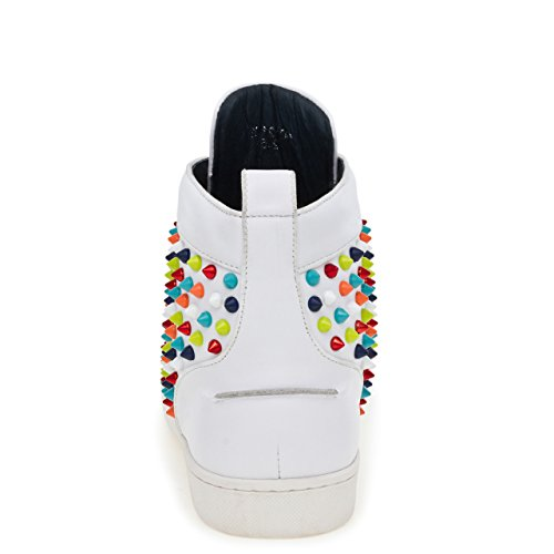 J75 Jump Men's Rarity Round Toe Spike Detail Lace-Up High-Top Sneaker White Multi UNNjO