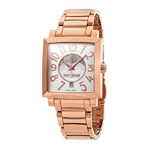 Saint Honore Women's 756117 8AYBR Orsay Paris Rectangular Rose Gold PVD Mother-Of-Pearl Moon Phase Watch