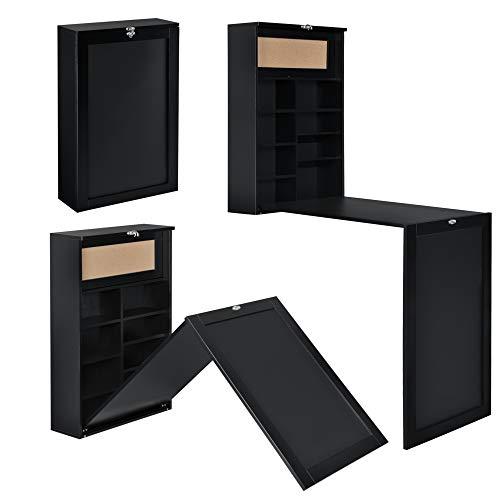 [en.casa] Escritorio Plegable de Pared con Corcho y Pizarra 80 x 50 x 18,5 cm MDF con Estantes para almacenar Negro
