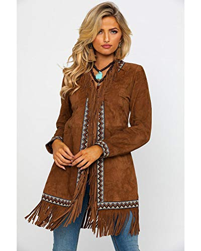 Scully Women's Leatherwear by Cinnamon Boar Suede Embroidered Band Coat Brown Small