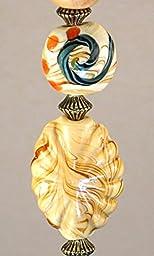 Sweep of Prairie Wheat Cream Lampwork Glass Ceiling Fan Pull