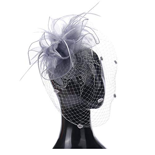 (Felizhouse Fascinators Hats for Women - Kentucky Derby Tea Party Headwear - Wedding Cocktail Headband Hair Clip - Feather Mesh Flower Veil Headpiece (Grey))