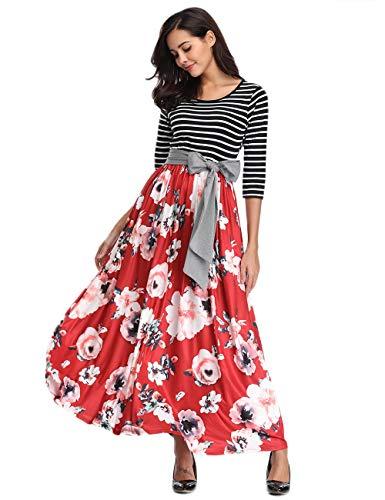 Womens Striped Floral Maxi Dress with Pockets Empire Waist 3/4 Sleeve Tie Waist Floor Length Long Dress Red