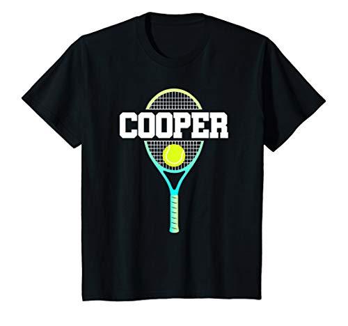 Kids Tennis Boy Cooper Birthday T-Shirt Racket Kid's Name Gift (Youth T-shirt Cooper)