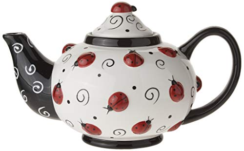 (Ladybug With Swirls Teapot For Kitchen Decor And Teas)