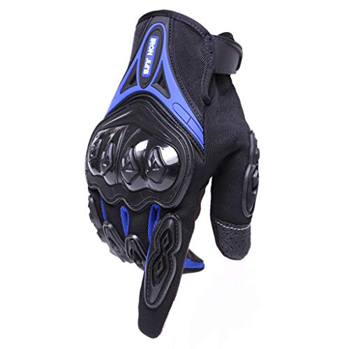 AMCER Touch Screen Motorcycle Gloves Full Finger Durable for Road Racing Bike Spring Powersports Support with Good Graft and Hard Shell Protection for Men and Ladies Blue M