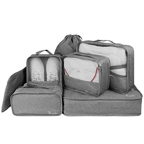 (Packing Cubes for Travel 7 Set Luggage Packing Organizers Travel Accessories, Gray)
