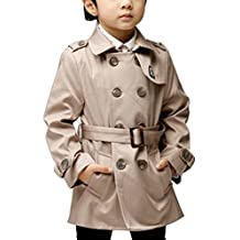 OCHENTA Boys' Spring Middle Long Double Breasted Trench Coat Outerwear with Belt