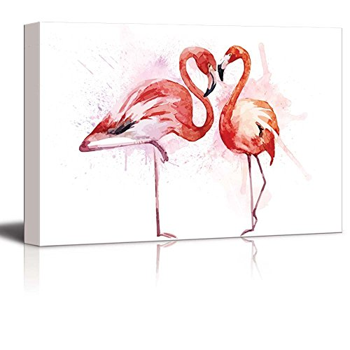 Beautiful Watercolor Painting of Two Flamingos Print Gallery