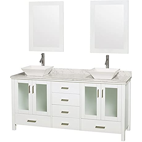 Wyndham Collection Lucy 72 Inch Double Bathroom Vanity In White White Carrera Marble Countertop Pyra White Porcelain Sinks And 24 Inch Mirrors
