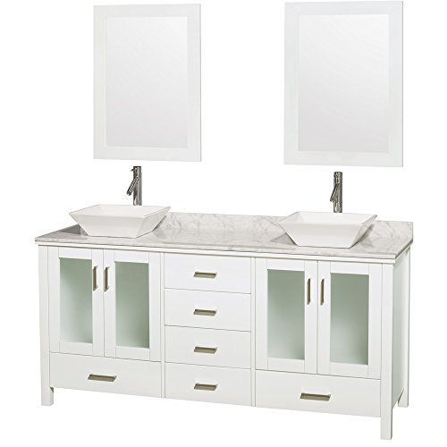 Wyndham Collection Lucy 72 inch Double Bathroom Vanity in White, White Carrera Marble Countertop, Pyra White Porcelain Sinks, and 24 inch Mirrors