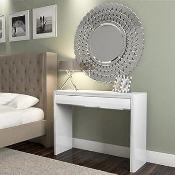 White High Gloss Dressing Table Drawer Modern Design Amazon - Modern white dressing table