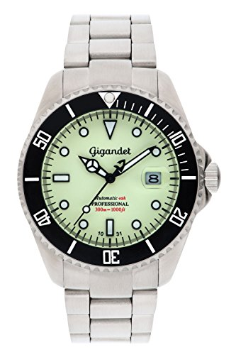 Gigandet Men's Automatic Pro Diver Watch Sea Ground Analog Stainless Steel 30atm Luminous Green Silver G2-011