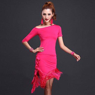 Latin Dance Outfits Women's Performance Milk Fiber Tassel(s) 2 Pieces Skirt / TopDress length M/L/XL:95cm Suitable weight M:45-55kg / , xl