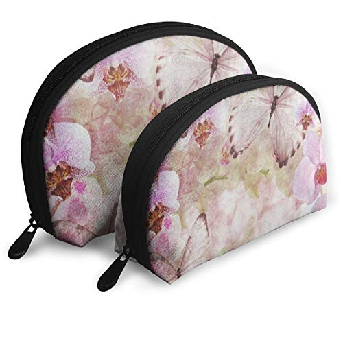 Makeup Bag Butterfly Orchids Flowers Pink Portable Half Moon Beauty Bags Storage For Women ()
