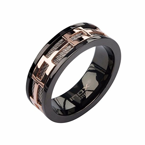 Inox Jewelry Stainless Steel Cable Rose Gold Window Cable Ring (Black, Size 12) from INOX