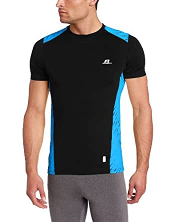 Russell Athletic Men's Compression Short Sleeve Crew, Black, Large