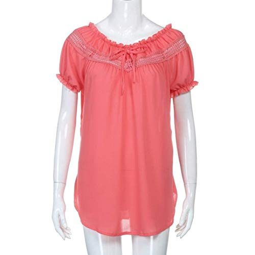 Rond Rouge Elgante Chic Creux Chemisiers Manches Femme Haut Courtes Chemise Printemps BOLAWOO T Tshirts Splicing Casual Mode Bandage Manche Shirts Col Irrgulier Bouffant Uni qvwPZg
