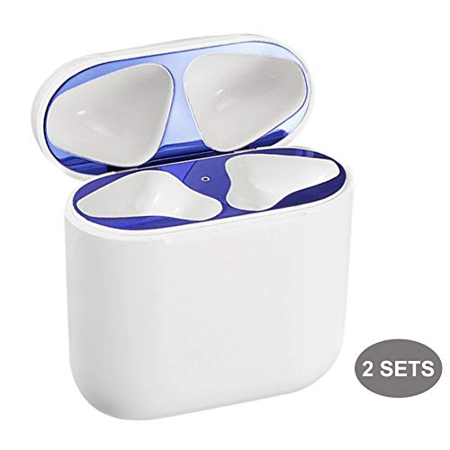 Crazy Panda - CRAZY PANDA Dust Guard for AirPods, Upgrated Ultra Thin 0.03mm Metal Sticker 18K Plating for Airpods Case 1 & 2 (Not for Wireless) Proof Dust and Iron Shavings - Blue (2 Sets)