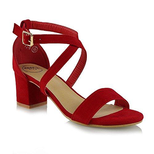 Sera Donna Finto GLAM Cinghietti ESSEX Caviglia alla Cinturino Basso Scarpe Sintetico Rosso Scamosciato Tacco zfw7d5wq