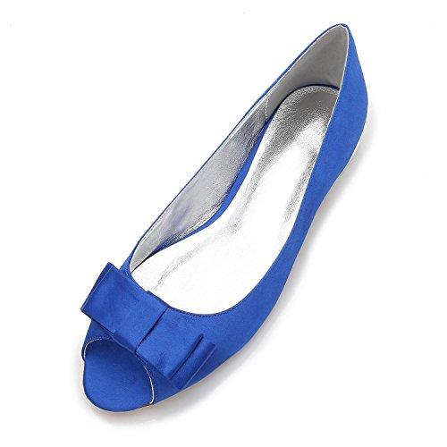 Elegant high shoes Zapatos de Boda de Las Mujeres Peep Toe Pumps Satin Silk Chunky Dama de Honor/Zapatos de Corte/5049-11 Blue