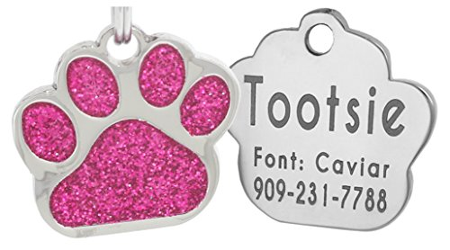 Laser Engraving Glitter Paw Pet ID Tags Custom Personalized for Dog & Cat Paw Print Tag (Pink) (Pet Paw Id Tag)