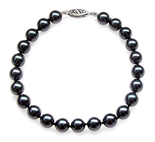 14K Or Blanc Noir Perle de culture Akoya japonais Bracelet de qualité AA + (7,5-8mm)