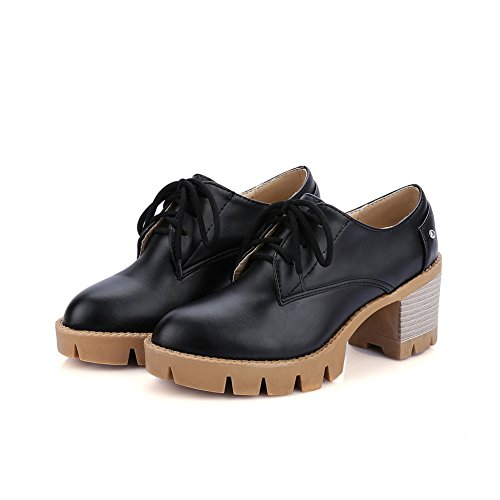 Urethane Bandage Ladies Black Shoes Solid Heels BalaMasa Oxfords Chunky Platform n6fWOwCx7q
