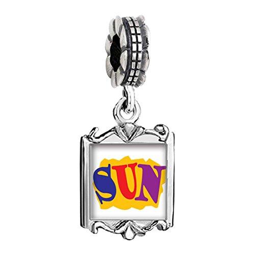 Silver Plated Summertime Sun Photo Family Mom & Baby Girl & Dad Dangle Bead Charm Bracelet