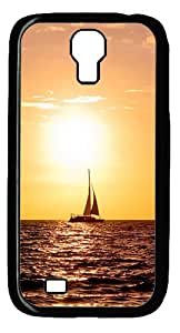 Samsung Galaxy S4 I9500 CaseSailing Sea Boat Warm Sunset PC Hard Plastic Case for Samsung Galaxy S4 I9500 Black
