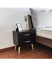 GDLMA Wooden Night Stand End Table with Double Drawers for Bedrooms,Black
