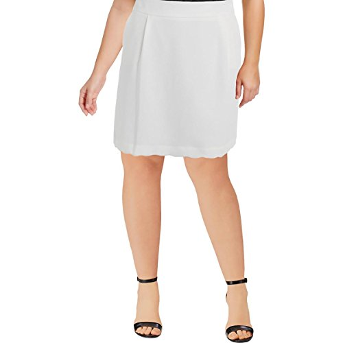 Tommy Hilfiger Womens Textured Scalloped A-Line Skirt Ivory 0