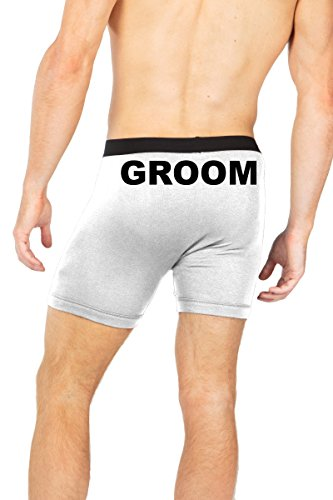 Boxer Briefs for Men Groom Wedding Underwear Bachelor Party Gifts White X-Large by Custom Apparel R Us