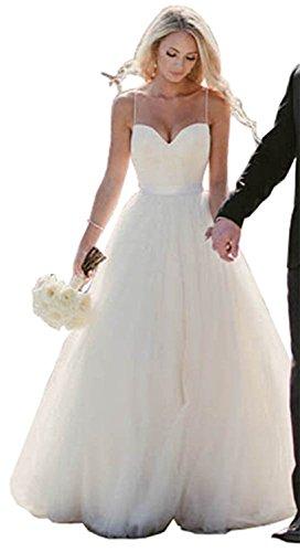Engeryplay Women's Sweetheart Spaghetti Straps Sleeveless A-Line Tullle Beach Bridal Gowns White (A-line Straps Sweetheart Sleeveless)