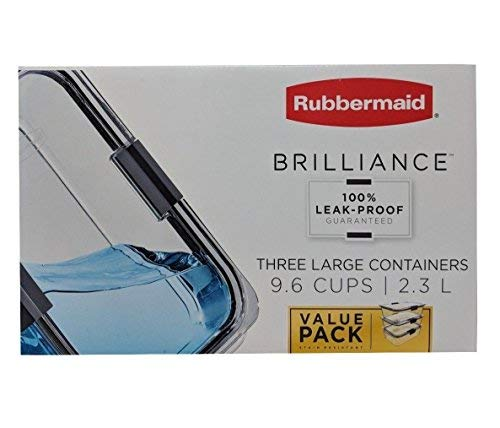 (Rubbermaid Brilliance 100% Leak-Proof Three Large Containers 9.6 Cups 3 Pack)