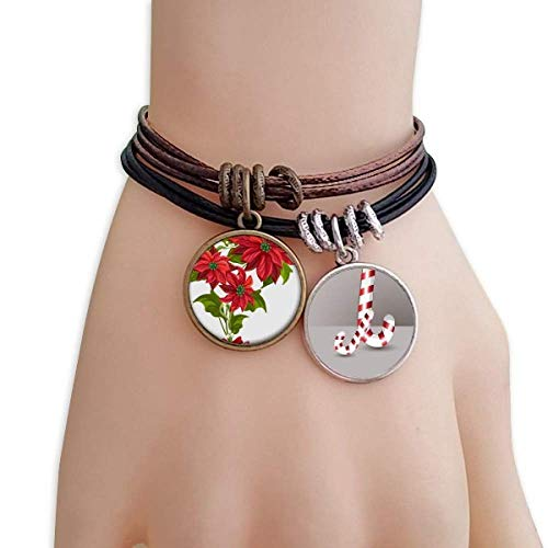 - DIYthinker Christmas Flower Poinsettia Bouquet Red Christmas Candy Cane Leather Rope Bracelet