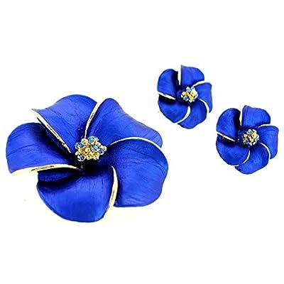Blue Hawaiian Plumeria Swarovski Crystal Flower Pin Brooch And Earrings Gift Set on sale
