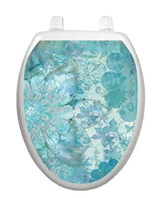 Blue Floral Haze Toilet Tattoo TT-1088-O Elongated Theme Cover Bathroom