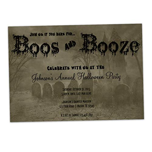 Boos Booze Halloween Invitations Adult Party -