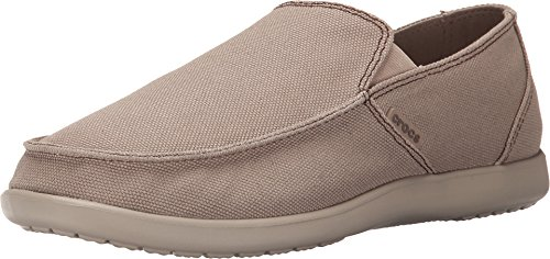 crocs Men's Santa Cruz Clean Cut Slip-On Loafer, Khaki/Cobblestone, 10 M US Santa Cruz Clean Cut Loafer
