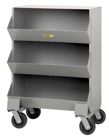 Little Giant Mobile Storage Bin - 32X20x45-1/2'' - (3) 32X15x12-1/2'' Bins - Gray