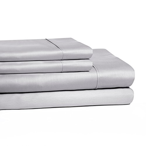 Superior 100% Cotton, 300 Thread Count Iron-Free Wrinkle Resistant 4-Piece Sheet Set, Full, Light Grey