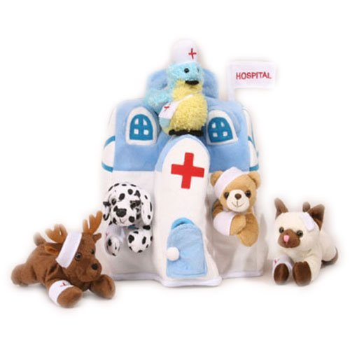 (Plush Animal Hospital House with Animals - Five (5) Stuffed Injured Animals (Bear, Dalmatian, Cat, Bird, Moose) in Play Hospital Carrying Case)