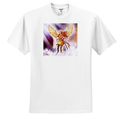 Dream Essence Designs-Angels - Beautiful Guardian Angel In Armor With Clouds and Gates Of Heaven - T-Shirts - Youth T-Shirt XS(2-4) (Heaven Clouds Design)