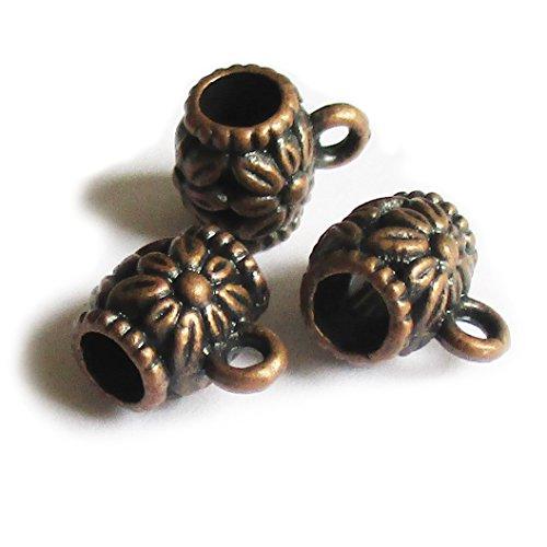 (Heather's cf 100 pcs Copper Color Connectors Bails Beads fit European Charm Bracelet Pendant Bail for Necklace Making)