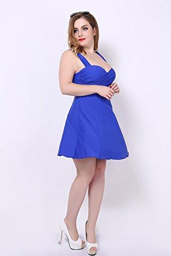 HZZ Tankini de las mujeres con pantalones cortos Establece Shaping Cuerpo de trajes de baño del traje de baño de dos piezas traje de baño Tamaño Plus Blue