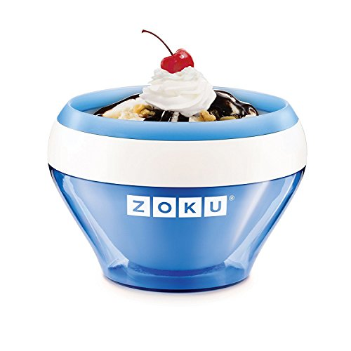 Zoku Ice Cream Maker, Compact Make and Serve Bowl with Stainless Steel Freezer Core Creates Soft Serve, Frozen Yogurt, Ice Cream and More in Minutes, BPA-free, 6 Colors, Blue (Ice Cream Cup Maker)