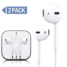 2 Pack - Earphones with Microphone Premium Earbuds Stereo Headphones and Noise Isolating headset Compatible With Apple iPhone,iPod,iPad,Samsung Galaxy,LG,HTC - White